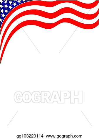 Vector Stock - American blue red flag wave frame. Stock Clip Art ...