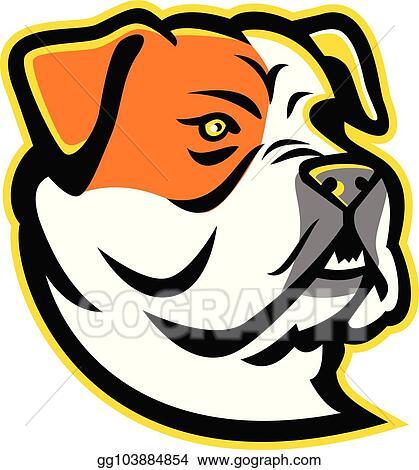 Vector Clipart American Bulldog Head Mascot Vector Illustration