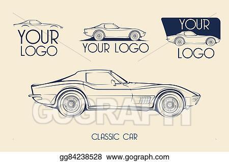 Vector Illustration American Classic Sports Car Silhouettes Logo
