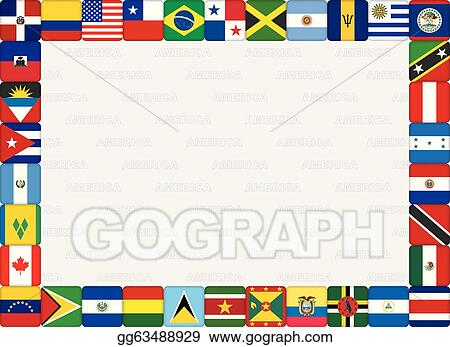 EPS Illustration - American countries flag icons frame. Vector ...