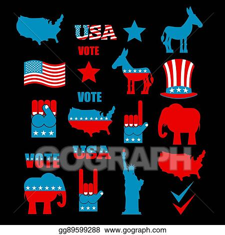 Eps Vector American Elections Icon Set Republican Elephant And