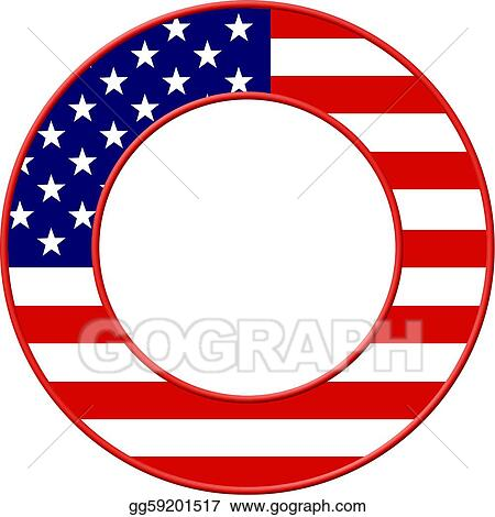 Drawing - American flag frame. Clipart Drawing gg59201517 - GoGraph