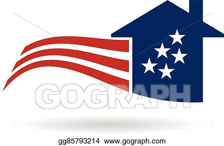 vector illustration american flag house logo vector graphic rh gograph com american flag graphic wraps american flag graphic design