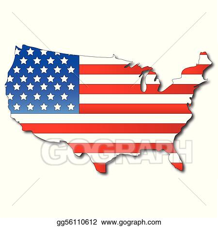 eps illustration american flag on a usa map vector clipart rh gograph com usa map clipart black and white usa map clipart black and white