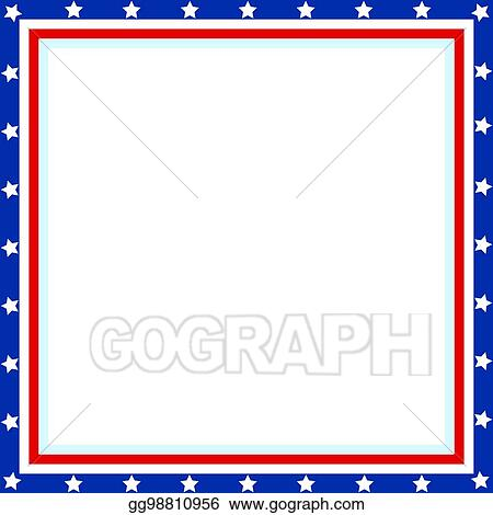 Vector Art - American flag square frame. Clipart Drawing gg98810956 ...
