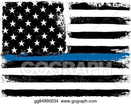cb482ed8d876 American Flag with Thin Blue Line. Grunge Aged Background. Monochrome  gamut. Black and white.