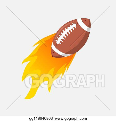 Clip Art Vector American Football Ball In Fire Flame