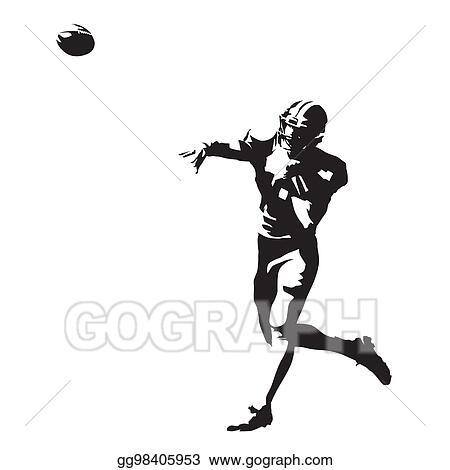 Vector Illustration American Football Player Throwing Ball