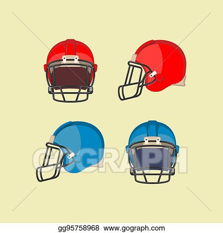 Vector Illustration American Football Red Blue Helmets Front Side View Stock Clip Art Gg95758968 Gograph