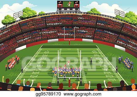 eps illustration american football stadium scene vector clipart rh gograph com football ground clipart football stadium background clipart