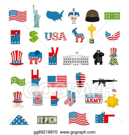 2fd0d647298 Vector Stock - American icon set. national sign of america. Clipart ...