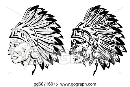 Line Art Feather : Vector illustration american indian chief tattoo stock clip art