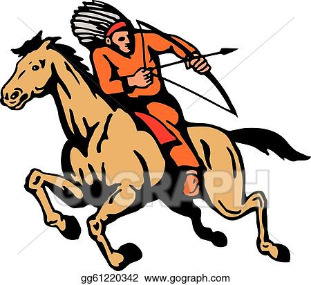 vector illustration american indian riding horse bow and arrow rh gograph com indian arrowhead clipart free indian arrowhead clipart free