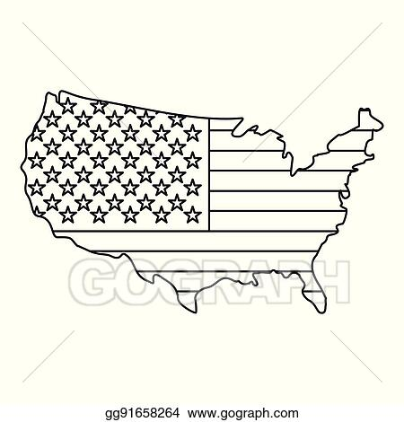 American Map Vector.Vector Clipart American Map Icon Outline Style Vector