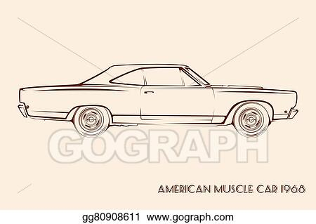 Clip Art Vector American Muscle Car Silhouette 60s Stock Eps