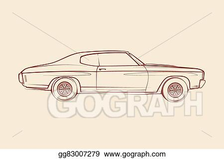 Vector Illustration American Muscle Car Silhouette 70s Eps