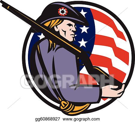 vector art american patriot minuteman with rifle and flag eps rh gograph com minuteman clipart Statue of Liberty Clip Art