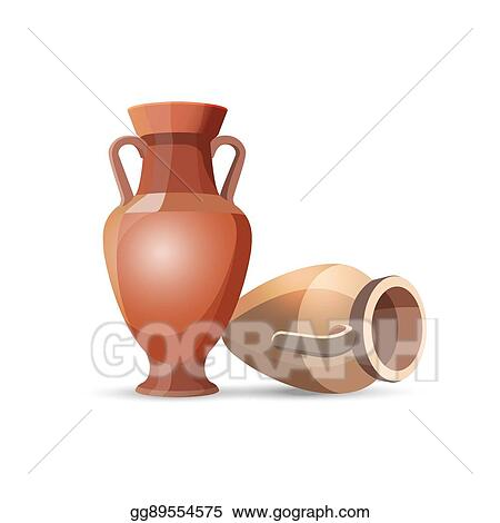 Vector Illustration Amphora Vases Isolated Clay Jars Egyptian