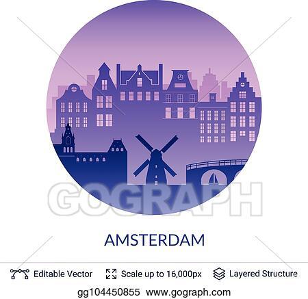 Vector Art - Amsterdam famous city scape  EPS clipart gg104450855
