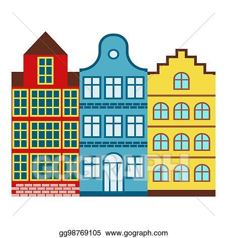 Vector Illustration - Amsterdam house tourism travel design famous