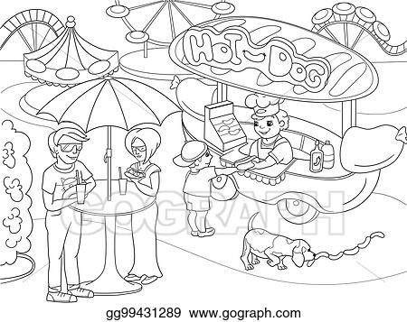 Vector Stock Amusement Park Coloring Pages For Children Hot Dog