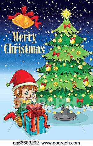 Tall Christmas Tree Cartoon.Vector Illustration An Elf Watching The Gift Near The Tall