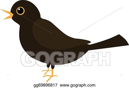 vector art an illustration of a blackbird clipart drawing rh gograph com Blackbird Clip Art Black and White blackbird flying clipart