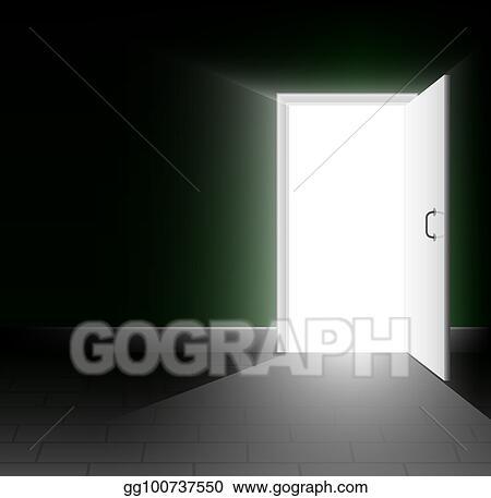 Open door dark Silhouette An Open Door In Dark Room Ray Of Light Shines Into The Darkness Bright Way Out Gograph Vector Art An Open Door In Dark Room Ray Of Light Shines Into