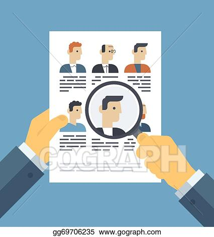 EPS Illustration - Analyzing applicants resume illustration concept ...