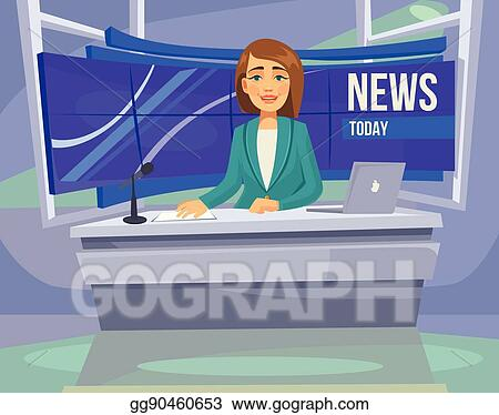 Anchorwoman Character On Tv Breaking News Vector Flat Cartoon Illustration