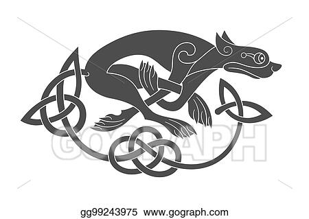 Vector Stock - Ancient celtic mythological symbol of wolf