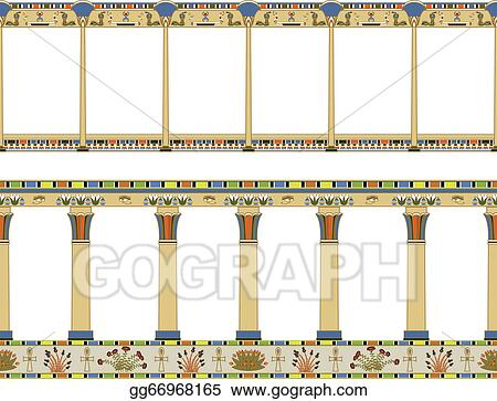Four egyptian pillars isolated. | CanStock