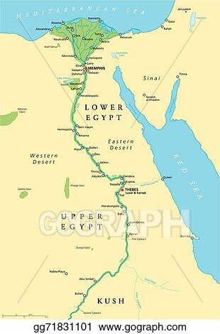 Vector Illustration Ancient Egypt Map Stock Clip Art Gg - Map of egypt vector