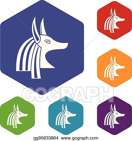 Vector Stock - Ancient egyptian god anubis icons set hexagon  Stock