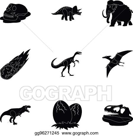 Image of: Mammals Ancient Extinct Animals And Their Tracks And Remains Dinosaurs Tyrannosaurs Pnictosaursdinisaurs And Prehistorical Icon In Set Collection On Black Style Gograph Clip Art Vector Ancient Extinct Animals And Their Tracks And