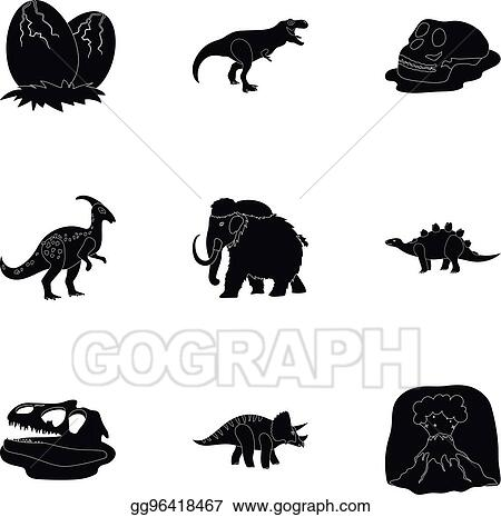 Image of: Ancient Beasts Ancient Extinct Animals And Their Tracks And Remains Dinosaurs Tyrannosaurs Pnictosaursdinisaurs And Prehistorical Icon In Set Collection On Black Style Gograph Clip Art Vector Ancient Extinct Animals And Their Tracks And