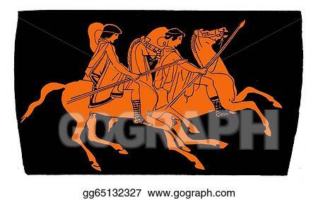 Stock Illustration Ancient Greek Vase Knights Clipart Gg65132327