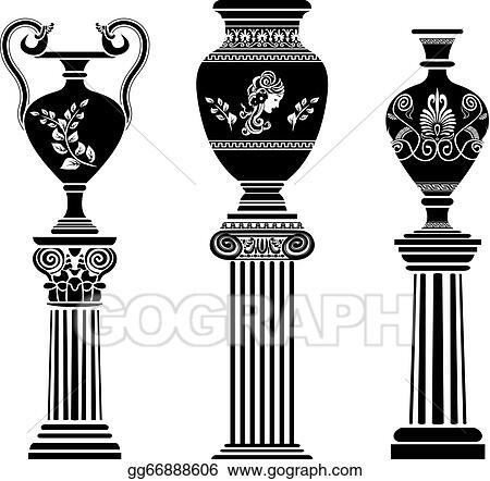 Clip Art Vector Ancient Greek Vase On Column Stock Eps Gg66888606