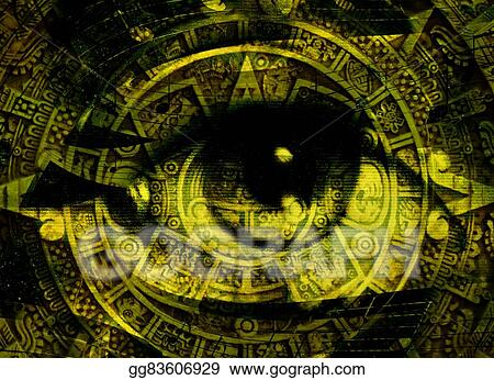 Clipart Ancient Mayan Calendar And Woman Eye With Music Note