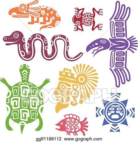 Eps Illustration Ancient Mexican Symbols Vector Illustration