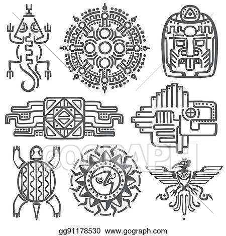 Vector Stock Ancient Mexican Vector Mythology Symbols American