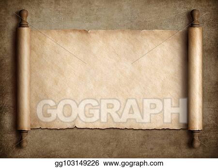 Clipart - Ancient scroll parchment over old paper background