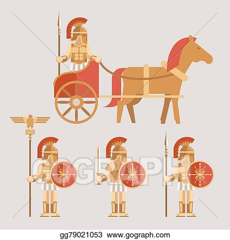 EPS Illustration - Ancient wariors icons with sword or spear and