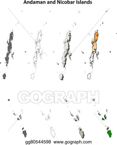 Vector Stock - Andaman and nicobar islands blank outline map set ...