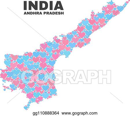 Vector Stock - Andhra pradesh state map - mosaic of lovely hearts ...