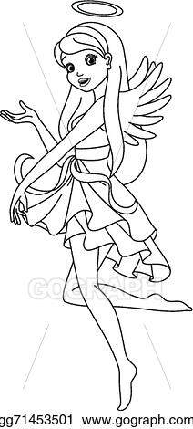 Vector Stock Angel Coloring Page Stock Clip Art Gg71453501 Gograph