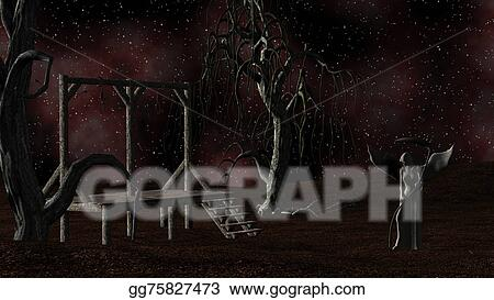 Drawing Angel Of Death Spooky Night Background With