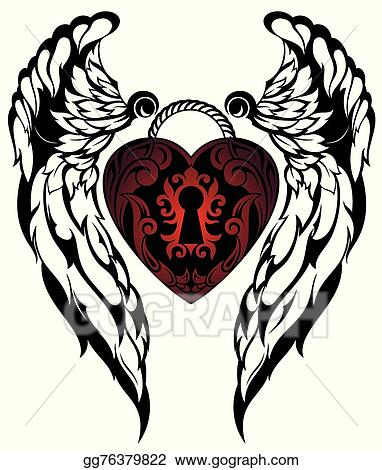 Vector Art Angel Wingslove Tattoo Clipart Drawing Gg76379822