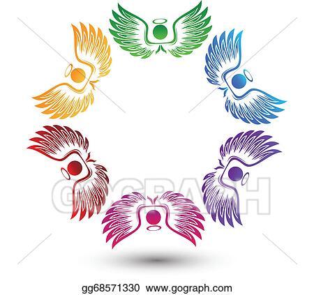 vector clipart angels around logo vector illustration gg68571330