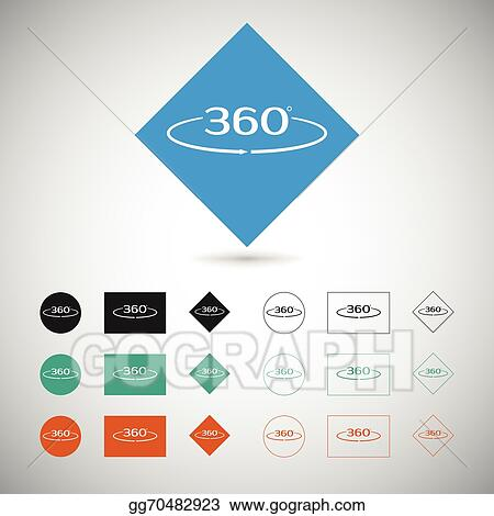 Eps Vector Angle 360 Degrees Sign Stock Clipart Illustration